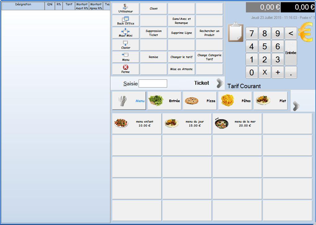 menu caisse